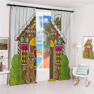 GUUVOR Gingerbread Man Hook up Curtain Cute Gingerbread House with Colorful Candies Cookie Man Graphic Figure for Bedroom Kindergarten Living Room W52 x L108 Inch Multicolor