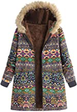 Coats Parka Outwear Jacket Women Vintage Print Plus Size Flannel Lining Hooded Pocket Oversize Outercoat Overcoat