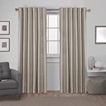 Exclusive Home Curtains Zeus Solid Textured Jacquard Blackout Window Curtain Panel Pair with Back Tab Top, 52x84, Natural, 2 Piece