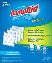 DampRid - Fragrance Free Moisture Absorber 10.5 oz. Easy Fill Refill Packs - 4 count – Attracts & Traps Moisture for Fresh...
