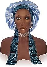 Silk Feel 2X Layer Polyester Satin Bonnet Scarf/Sleep Cap/Head Wrap | Adjustable Hair Wraps for Sleeping | Braid/Night Bonnets for Women | Accessories for Curly Hair/Natural Hair/Braids (Small, Blue1)