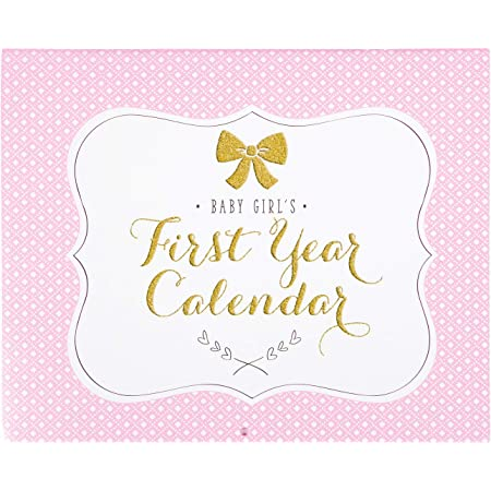 Carter's BA3-14075 Pink, White, and Gold First Year Baby Calendar for Girls with Stickers, 11'' L x 18'' H