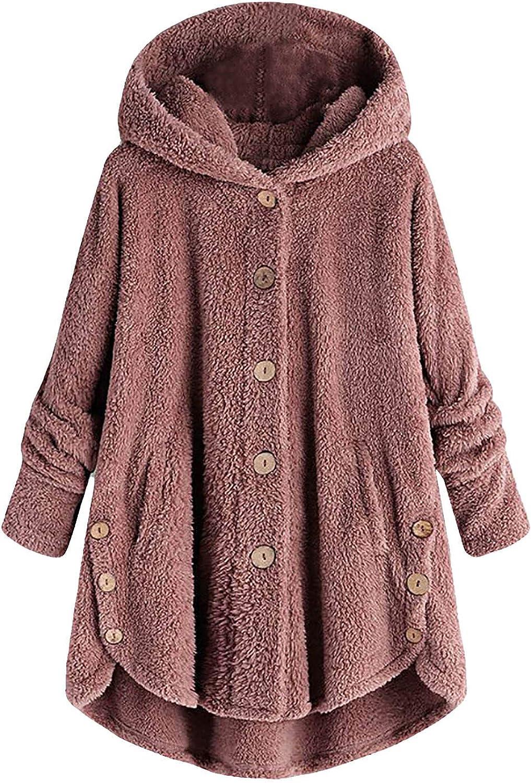 Women's Fuzzy Sherpa Hoodies Casual Cat Graphic Loose Hooded Sweatshirts Warm Winter Fleece Fluffy Coats Jackets