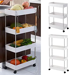HOME CUBE 1 Pc 4 Layer Kitchen Storage Trolley Rack with Caster Wheels, Rolling Utility Cart Slide Out Storage Shelves Spa...