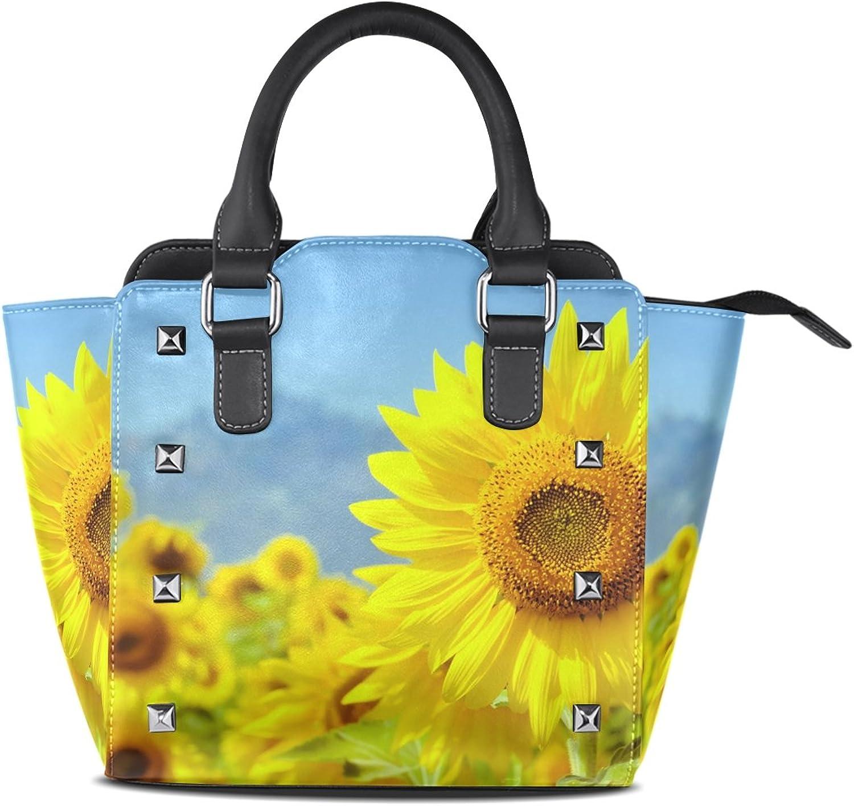My Little Nest Women's Top Handle Satchel Handbag Natural Sunflower Ladies PU Leather Shoulder Bag Crossbody Bag