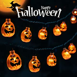 Minetom Halloween String Lights, Battery Operated 30 LED 11.5Ft 3D Pumpkin Halloween Lights with 2 Light Modes for Outdoor & Indoor Halloween Party Decorations