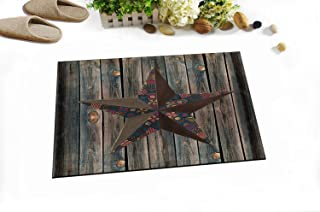 LB Vintage Lone Star on Barn Wood Plank Stall Rug Mat by, Primitive Rustic West Texas Country Theme Bathroom Decor, 15 x 23 Inch Mat Flannel Surface Comfortable