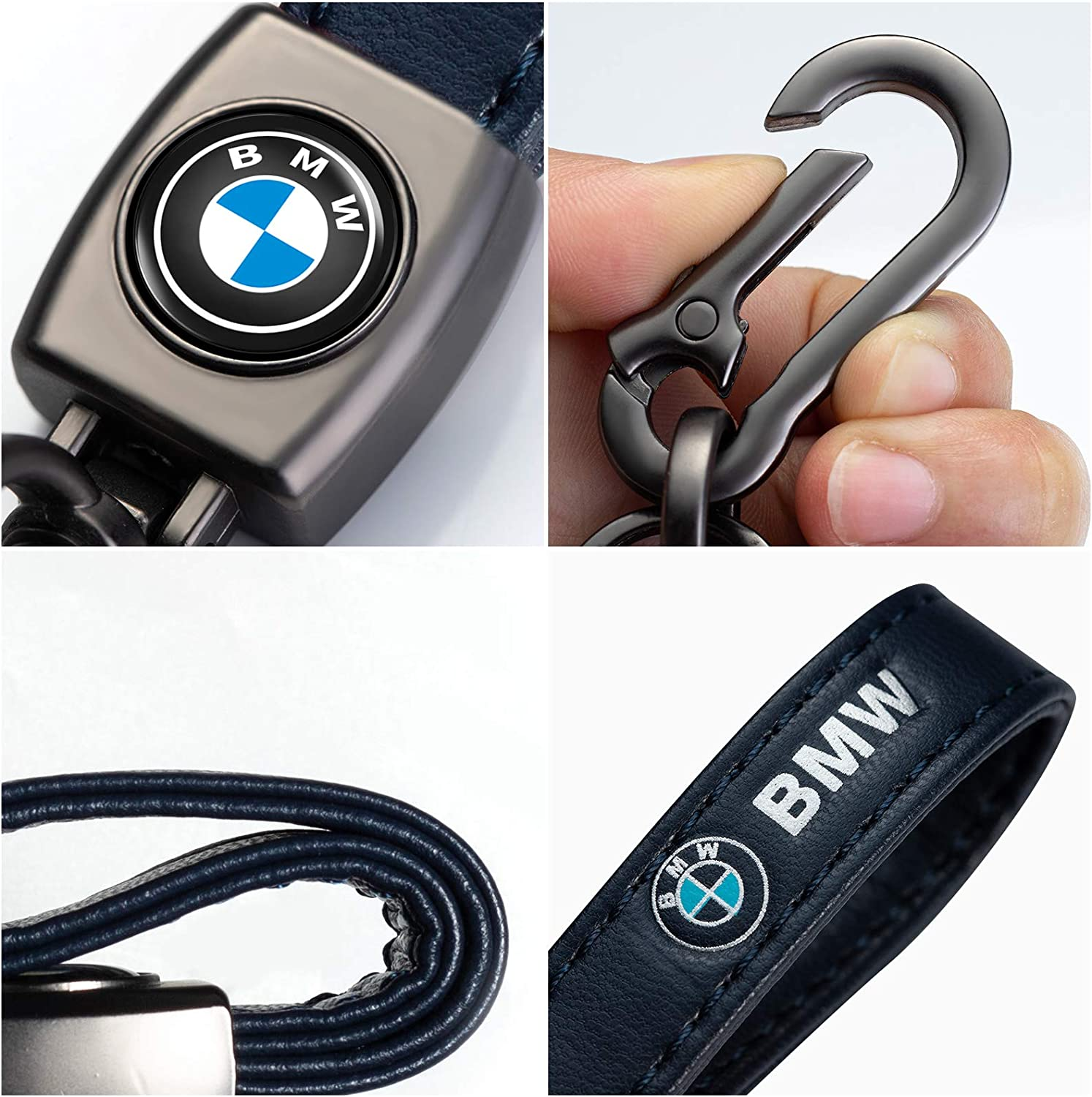 HGGH Car Logo Keychain Replacement for BMW Key Chain Accessories Keyring with Logo,Genuine Leather Key Chain Keyring Family Present for Man and Woman