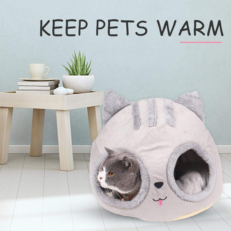 Cueva de cama de gato con forma de cabeza de gato caba/ña para gatitos c/ómoda cama para mascotas cama de gato cubierta suave nido de cueva c/álido casa de cachorros para gatos y perros peque/ños