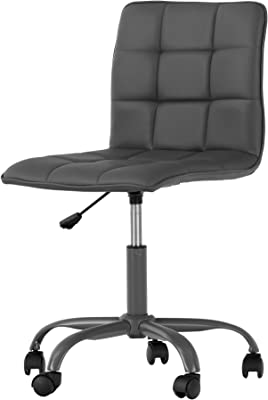 Annexe Gray Office Chair with Quilted Seat - Ergonomic Executive Office Chair - Mid Back Chair for Home Office by South Shore