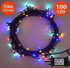 Multi Coloured Fairy Lights 100 LED 10m Indoor/Outdoor Christmas Lights String Tree Lights Festival/Bedroom/Party Decorations Memory Mains Powered 32ft Lit Length 3m/9ft Lead Wire Green Cable