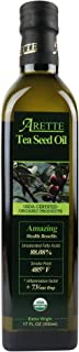 Arette Organic Tea Seed Oil (USDA Certified) Extra Virgin, No Flavor, Extra Light, Cold Pressed 17 Ounces (500 Milliliter)