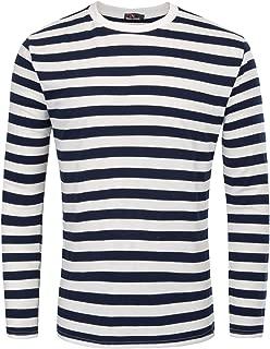 Men's Basic Striped T-Shirt Crew Neck Cotton Shirt