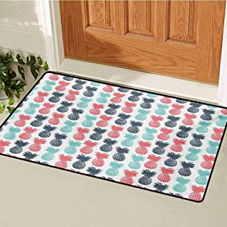 GUUVOR Pineapple Front Door mat Carpet Island Pineapple Tropic Fruit Pattern Stamped Minimal Backdrop Pop Art Machine Washable Door mat W31.5 x L47.2 Inch Turquoise Coral White