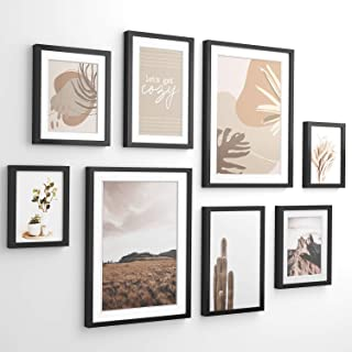 ArtbyHannah 8 Pack Modern Neutral Gallery Wall Kit with Decorative Art Prints Picture Frame Collage sets Wall Art Decor fo...