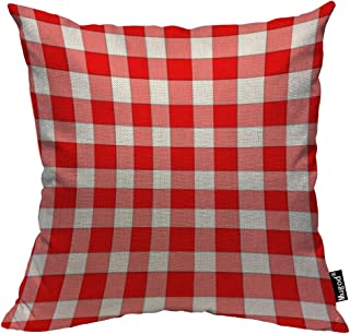 Mugod Plaid Checker Pillow Cover Checkered Tartan Classic Red Pink White Plaid Cotton Linen Square Cushion Cover Standard Pillowcase 18x18 Inch for Home Decorative Bedroom/Living Room/Car