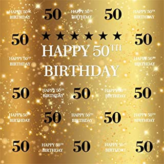 YEELE 8x8ft Golden Sparkling 50th Birthday Photography Background Fifty Years Old Step and Repeat Photos Backdrop Artistic Pictures Photo Booth Digital Wallpaper