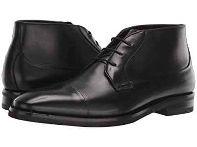 Canali Calf Cap Toe Lace-Up Ankle Boot (Black) Men