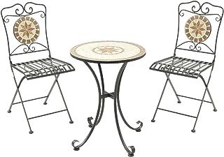 山善 ガーデン3点セット モザイク調テーブル&チェア HMTS-50