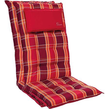 Homeoutfit24 Sylt - Coussin de Chaise de Jardin, Fabrique en Europe, Résistant aux UV, Coussin de tête Amovible, 2 pièces - Carreaux Rouges