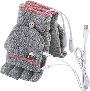 Unisex Women's & Men's USB Heated Gloves Mitten Winter Hands Warm Laptop Gloves,Yinuoday Full & Half Heated Fingerless Heating Knitting Hands Warmer Washable Design (Women Grey)