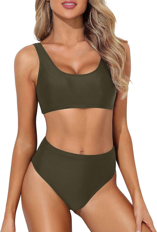 Tempt Me Women Scoop Neck Bikini Crop Top High Cut Two Piece Swimsuit Sporty High Waisted Bathing Suit