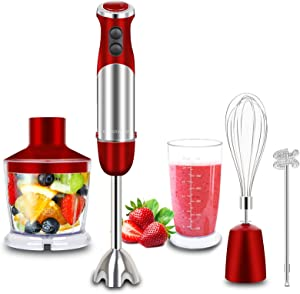 MegaWise Immersion hand blender 5 in 1 Multi-Purpose 1000 Watt 12 Speed With Beaker,Whisk,Chopper,Milk Frother Mixer Attachments