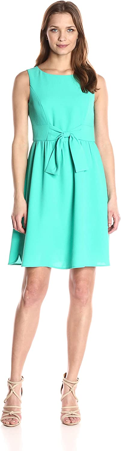 Adrianna Papell Womens Cameron Txrd Woven Bow Dress Dress