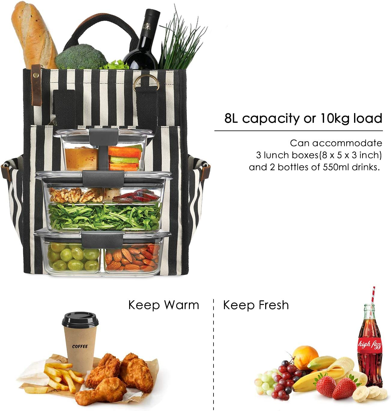 SMRITI Lunch Bag Canvas Lunch Container for Men Women Adults Insulated Stasher Bag Leakproof Cooler for Work Office School Picnic Zipper Closure Crazy Horse Leather Handle Adjustable Strap Stripes