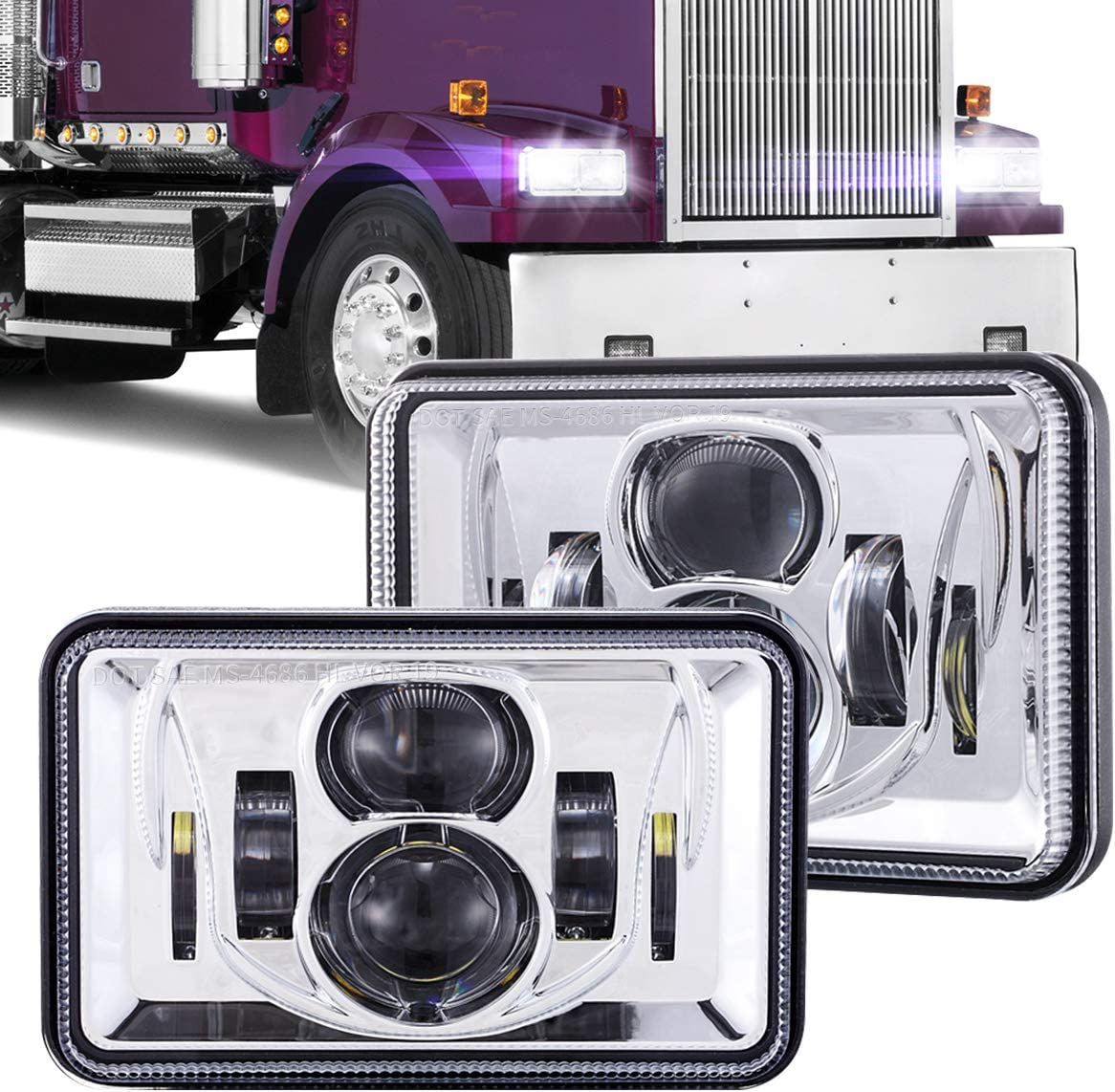 1 Pair It Regular dealer is very popular 4x6 Inch LED Headlights 60W H4651 H46 Beam Low H4652 High