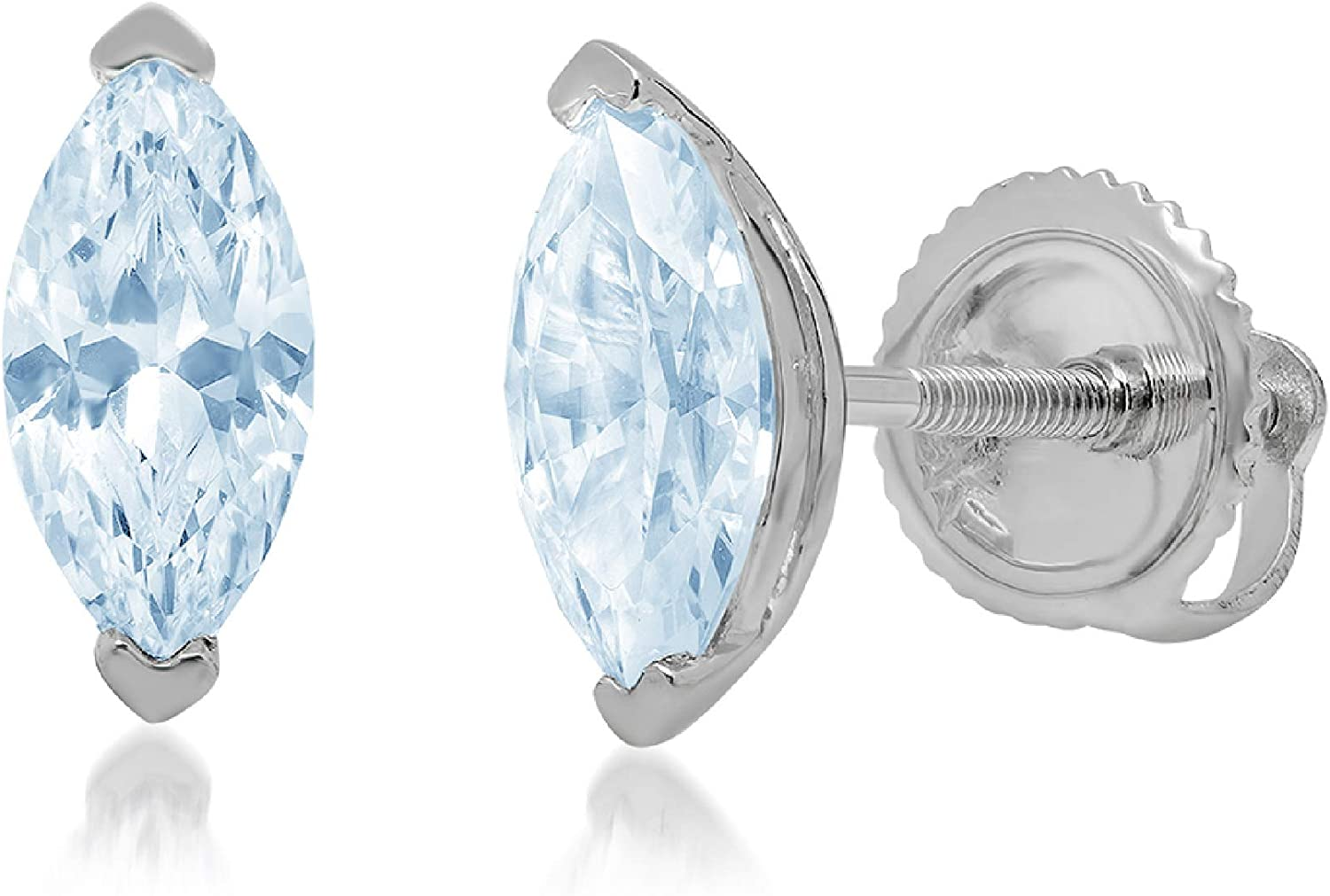 Clara Pucci 1.1 ct Brilliant Marquise Cut Solitaire VVS1 Flawless Blue Simulated Diamond Gemstone Pair of Stud Earrings Solid 18K White Gold Screw Back