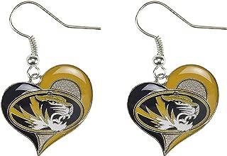 NCAA Missouri Tigers Swirl Heart Earrings