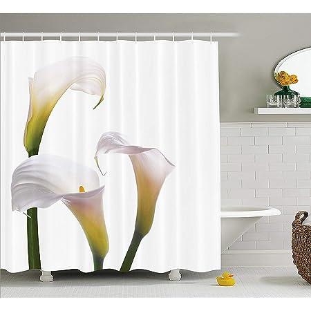 Afagahahs Flower Shower Curtain Flourishing Calla Lilies on White Fresh Spring Bouquet Gentle Nature Theme Fabric Bathroom Decor Set with Hooks Green White Yellow