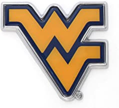 West Virginia University WVU Mountaineers Metal Auto Emblem - Many Available! (Old Gold w/Blue)