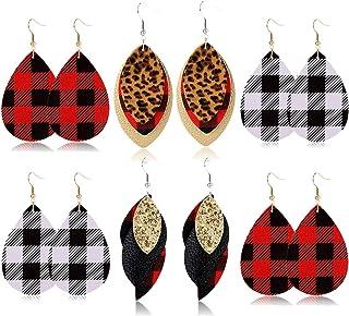 PHALIN Leather Earrings Set Lightweight Teardrop Leopard Plaid Leather Drop Earrings Handmade Multi Layer Leaf Dangle Earr...