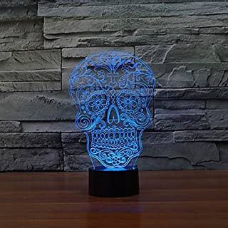 Sugar Skull Day Of The Death Face Lamp Innovative Colorful LED Night Lamp Creative Gifts Lampara USB Home Deco Living Room Show Express Expedited 4-7 business days