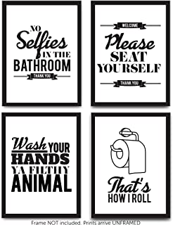 Designs by Maria Inc. Funny Bathroom Decor Typography Prints (Unframed) Wall Art & Pictures | Great Gift Set of 4 Quotes, Signs & Rules (8x10)