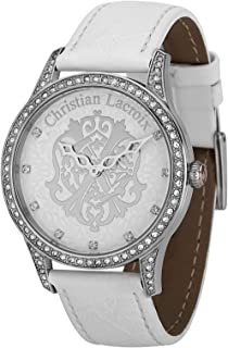 Christian Lacroix Women's Silver Dial Leather Band Watch - C Clw8004101Sm, Analog Display