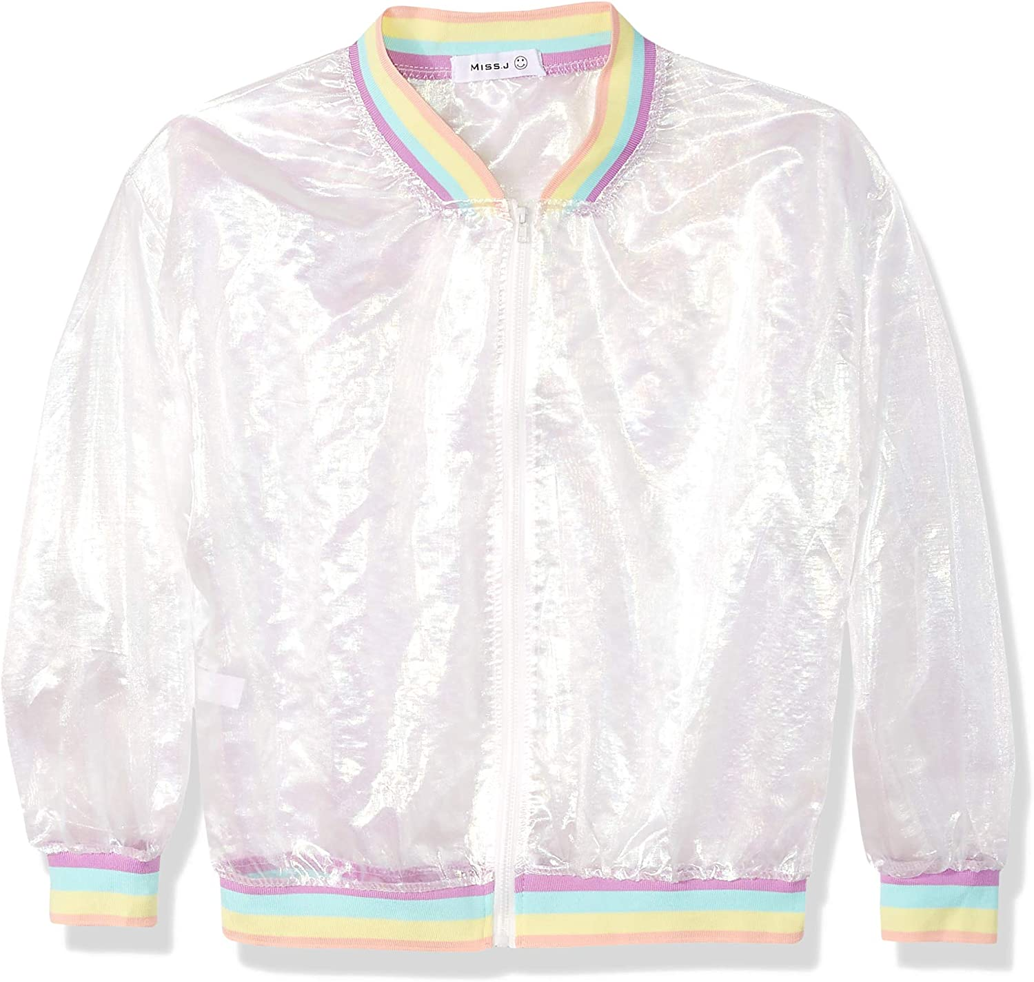 Women Girls Holographic Rainbow Jacket Iridescent See Through Mesh Jacket Sun-Proof Coat Rave Party Festival Outfit