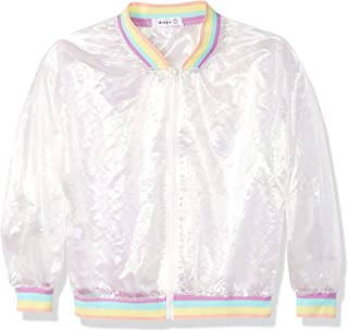 Aimeio Women Girl Jacket Rainbow Hologram Iridescent Transparent Mesh Jacket Sun-Proof Coat (Rainbow)