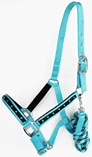 CHALLENGER Horse Nylon Padded Halter Lead Rope Nickel Plated Hardware Turquoise 606166