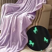jinchan Flannel Throw Blanket Unicorn Soft Lilac Violet Kids Lightweight Comfy Blanket Glow in The Dark Nursery Living Room Decor Four Seasons Birthday for Girls Boys Baby 50x60 Inch