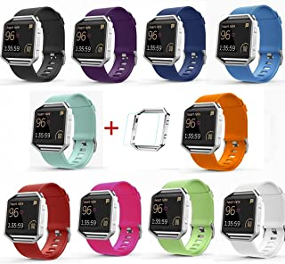 Fitbit Blaze Accessories Band, SailFar 10-Pack TPU Classic Bracelet Strap Replacement Wristband/Watch Bands Large/Small for Fitbit Blaze Smart Fitness Watch with Screen Protector & Silver Frame(Small)