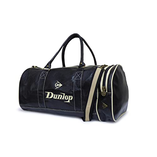 764e35f54cf8 Dunlop Retro Gym Holdall Sports Weekend Barrel Shoulder Bag Black