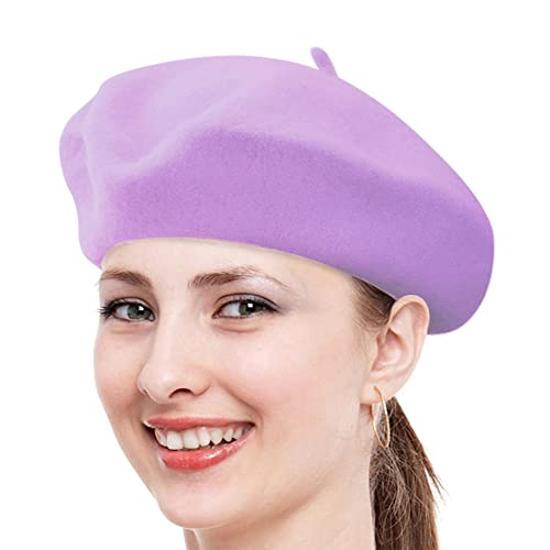 Classic Solid Color Wool French Beret (Lavender)