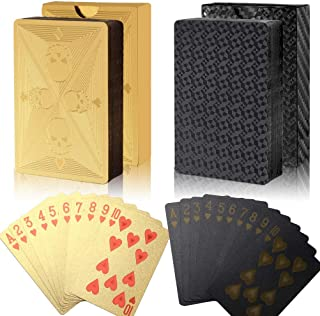 Sponsored Ad – ruiqiu 2 Decks Waterproof Poker Cards, Plastic Poker Diamond Playing Cards Magic Poker Cards for Family Par...