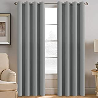 H.VERSAILTEX Grey Blackout Curtains for Bedroom Thermal Insulated Room Darkening Blackout Curtain Panel for Door, Window Panel Drapes - 1 Panel - 52 inch Wide by 84 inch Long, Dove Gray, Grommet Top