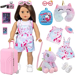 """Ecore Fun 11 pcs American 18 inch Girl Doll Accessories Suitcase Travel Luggage Play Set - Girl 18"""" Doll Travel Carrier St..."""