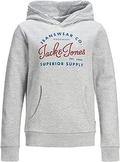 Jack & Jones Men's Logo Hoodie Sweatshirt, Color: Grey (Light Grey Melange), Size: 140