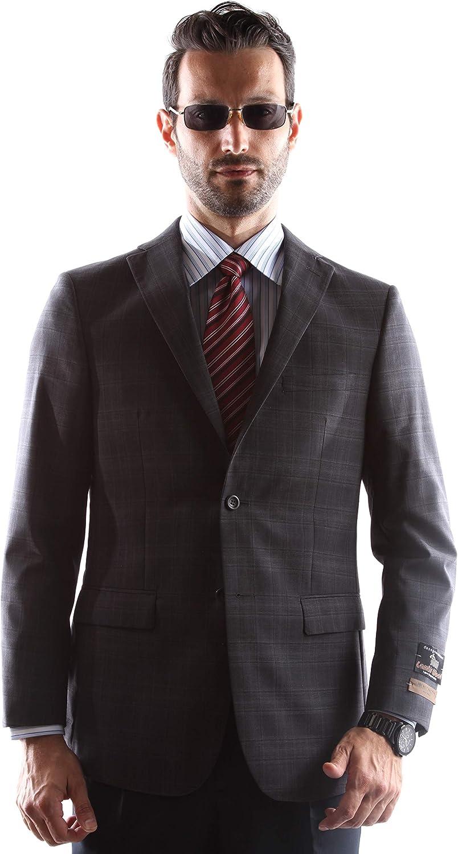 Prontomoda Men's 2 Button Luxury 100% Lamp Wool Charcoal Sport Coat 40L